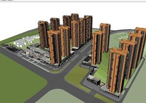 广州万科里享家坊城高层 商业建筑设计方案SU(草图大师)模型
