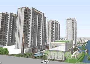 上海三盛宏業康花路高層 別墅項目建筑設計方案SU(草圖大師)模型