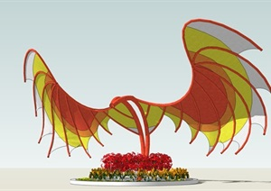 某雕塑抽象大鹏展翅雕塑SU(草图大师)模型