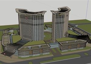 現代風格晉寧醫院建筑設計方案SU(草圖大師)模型