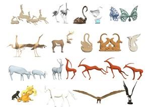 现代雕塑小品动物雕塑动物SU(草图大师)模型