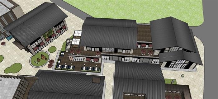 新中式商业街建筑与景观方案SU模型(2)