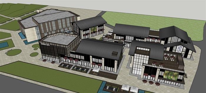 新中式商业街建筑与景观方案SU模型(4)