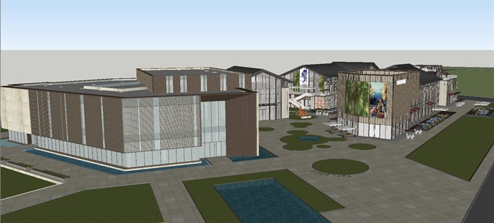 新中式商业街建筑与景观方案SU模型(5)