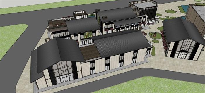 新中式商业街建筑与景观方案SU模型(6)