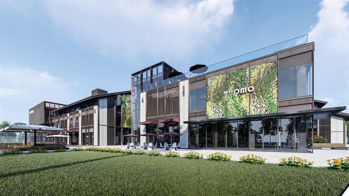 新中式商业街建筑与景观方案SU模型(8)
