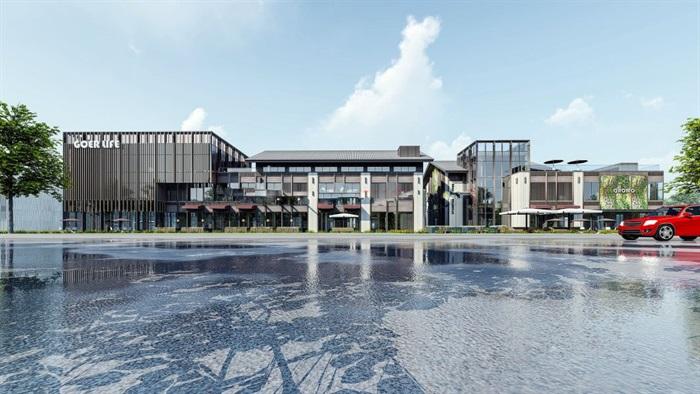新中式商业街建筑与景观方案SU模型(9)