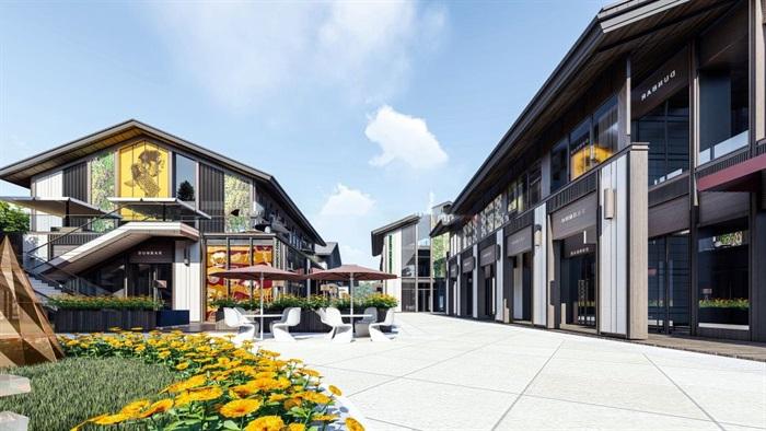 新中式商业街建筑与景观方案SU模型(11)