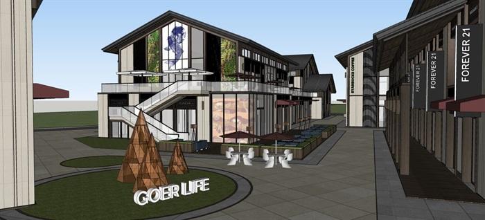 新中式商业街建筑与景观方案SU模型(12)