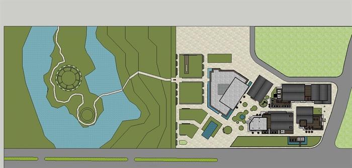 新中式商业街建筑与景观方案SU模型(13)