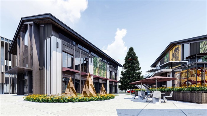 新中式商业街建筑与景观方案SU模型(15)