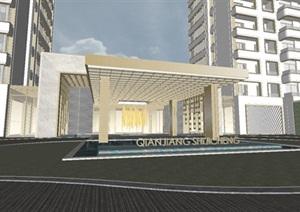 杭州融信保利创世纪现代高层豪宅 入口大堂建筑方案SU(草图大师)模型