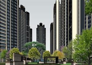 龙华白石龙龙光玖龙玺Artdeco高层小区建筑规划方案SU(草图大师)模型