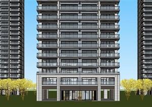上海杨浦平凉阳光城滨江悦代高层豪宅单体建筑方案SU(草图大师)模型