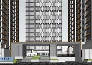 沙坪坝中骏西著七里现代风格高层+商业建筑方案SU(草图大师)模型
