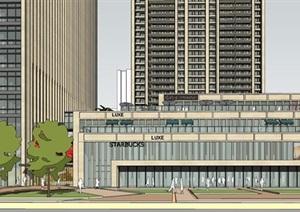 兰州天庆山河一品滨江高层豪宅+办公楼+商业建筑与景观方案SU(草图大师)模型