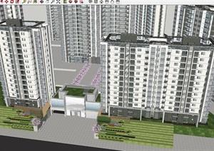 重庆现代典雅照母山龙湖尘林间高层豪宅项目建筑设计方案SU(草图大师)模型
