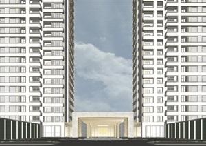 杭州融信保利创世纪入口大堂与下沉庭院 现代高层豪宅建筑与景观SU(草图大师)模型