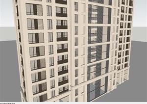 黃岡澳海黃州府新中式高層單體建筑SU(草圖大師)模型