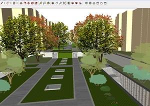 卓越温哥华公园小区项目建筑与景观(附两个小高层建筑单体)SU(草图大师)模型
