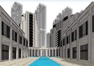 西安世茂文景路云端大都會新古典風格輕奢豪宅高層項目建筑方案SU(草圖大師)模型