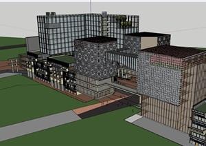 独特现代办公加商业综合建筑设计SU(草图大师)模型