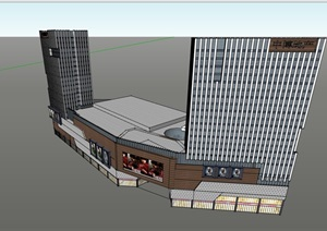 现代风格商业办公建筑楼设计SU(草图大师)模型