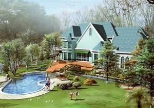 庄园别墅景观设计jpg效果图及庭院