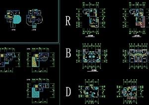 欧式多种别墅户型cad平面图