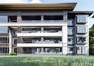 成都西园融创国宾壹号院中式售楼示范区建筑与景观方案SU(草图大师)模型