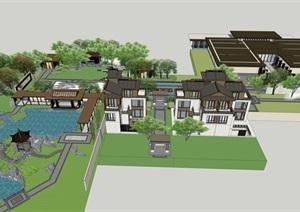 中式别墅示范区详细建筑设计SU(草图大师)模型