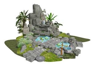 新中式庭院景觀 假山疊石 石頭 假山 跌水景觀 水景SU(草圖大師)模型