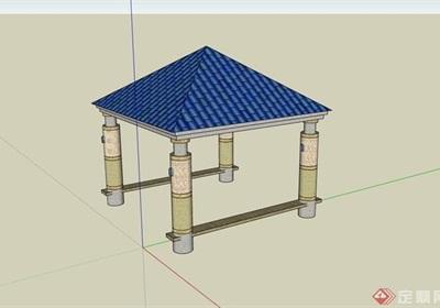 欧式风格详细的圆柱亭子素材设计su模型