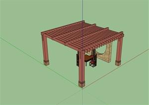 现代中式廊架素材设计SU(草图大师)模型