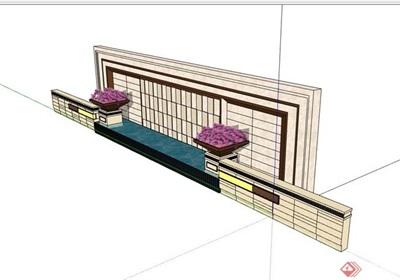 新古典景墙水池素材设计su模型
