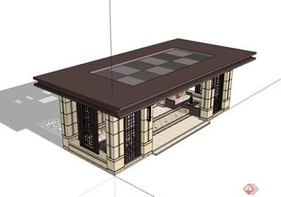 新古典风格详细的休闲亭设计su模型