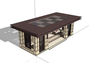 新古典风格详细的休闲亭设计SU(草图大师)模型