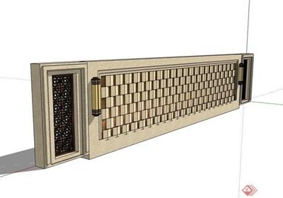 欧式风格详细的完整景墙设计su模型