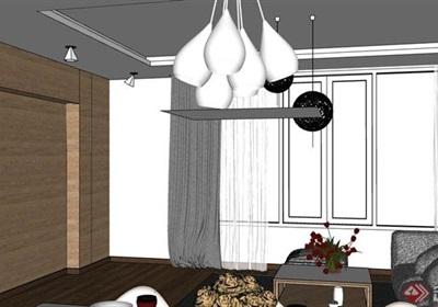 现代风格室内住宅客餐厅空间装饰su模型