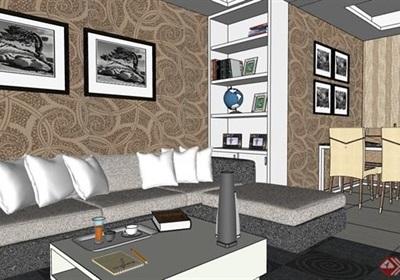 现代风格室内完整住宅空间装饰su模型