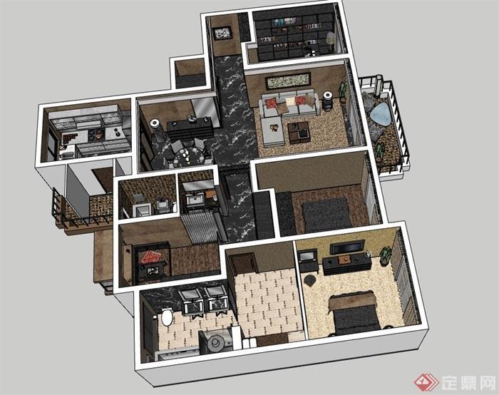 现代风格室内住宅空间装饰设计su模型
