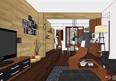 现代风格室内空间装饰设计su模型