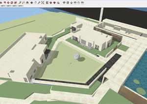 宁波慈溪明月湖中海湖心半岛大都会新古典风格示范区建筑与景观SU(草图大师)模型