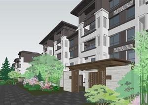 厦门龙湖首开景粼原著示范区与售楼部建筑与景观SU(草图大师)模型