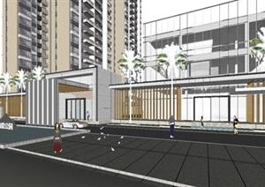 仁恒海口海棠公园会所示范区建筑与景观SU(草图大师)模型