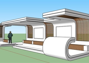 现代创意参数化曲线休息廊架长廊廊亭候车站公交站