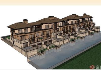 欧式联排完整别墅详细建筑su模型
