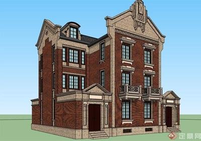 双拼完整的别墅详细建筑su模型