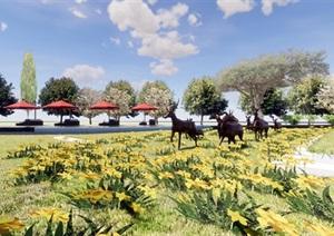 信达御玺台售楼处示范区建筑与景观方案SU(草图大师)模型
