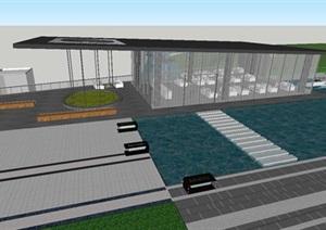 渝北万科金域蓝湾售楼示范区建筑与景观方案SU(草图大师)模型